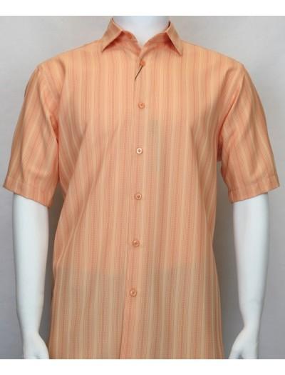 Bassiri S/S Button Down Men's Shirt - Shadow Stripe Coral