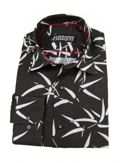 Giovanni Marquez Sport Shirt- Black with White Leaves