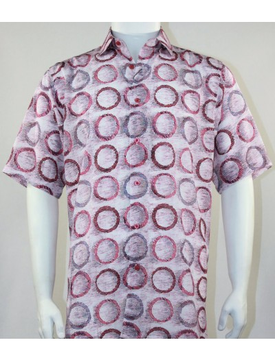 Bassiri S/S Button Down Men's Shirt - Circles / Fuschia
