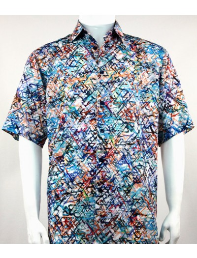 Bassiri S/S Button Down Men's Shirt - Scribbles Blue
