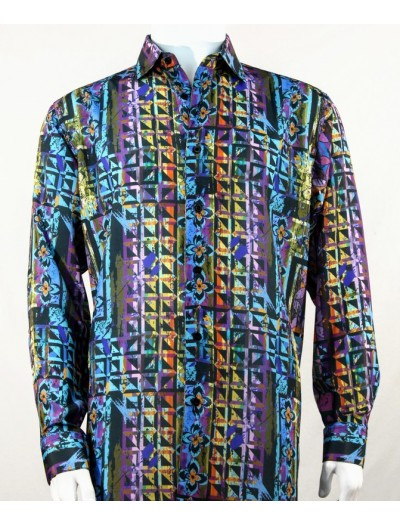 Bassiri L/S Button Down Men's Shirt - Abstract / Multi Turquoise