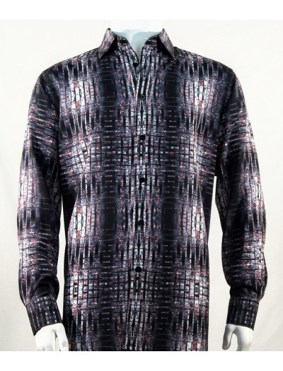 Bassiri L/S Button Down Men's Shirt - Abstract / Black Red