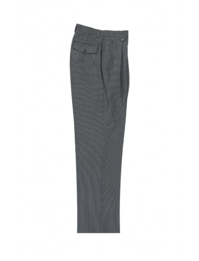 Men's Wide Leg Pleated Pants by Tiglio - 2586/2576 Slate Blue/White Mini-Stripes