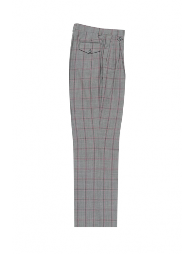Men's Wide Leg Pleated Pants by Tiglio - 2586/2576 Light Grey/Pink/Medium Grey Windowpane