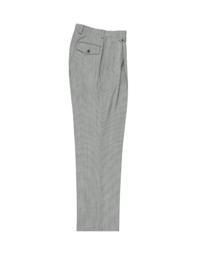 Men's Wide Leg Pleated Pants by Tiglio - 2586/2576 Feather Grey/White Mini Stripes
