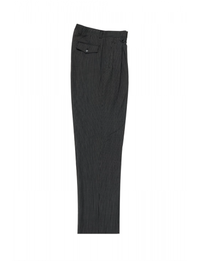 Men's Wide Leg Pleated Pants by Tiglio - 2586/2576 Black/White Mini Stripes