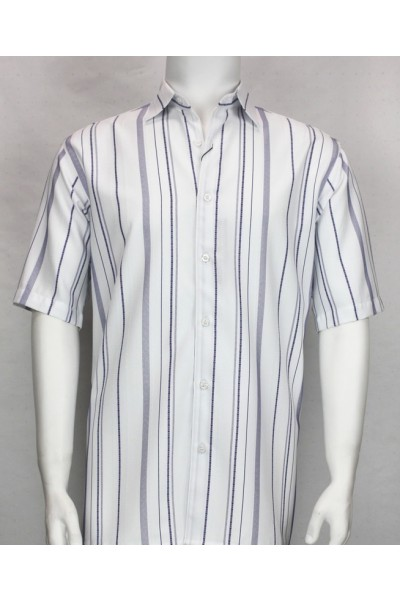 Bassiri S/S Button Down Men's Shirt - Navy Stripe