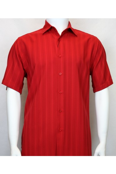 Bassiri S/S Button Down Men's Shirt - Shadow Stripe Red