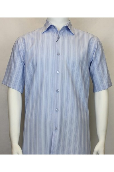 Bassiri S/S Button Down Men's Shirt - Shadow Stripe Lt Blue