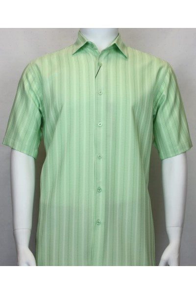 Bassiri S/S Button Down Men's Shirt - Shadow Stripe Lt Green