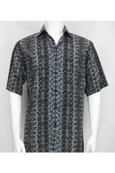 Bassiri S/S Button Down Men's Shirt - Diamonds Pattern Charcoal