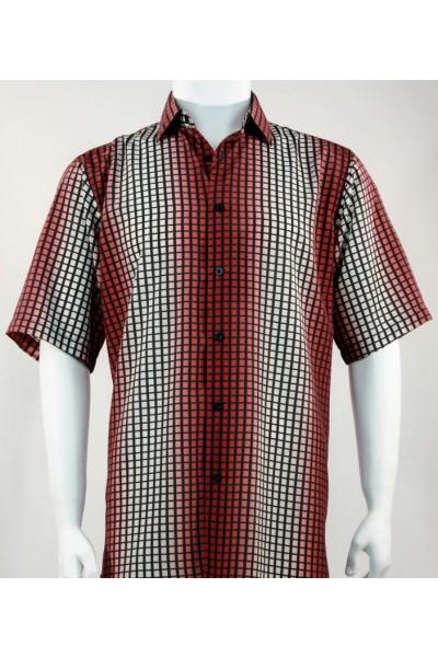 Bassiri S/S Button Down Men's Shirt - Strobe Check Red