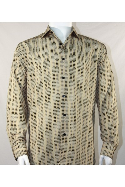 Bassiri L/S Button Down Men's Shirt - Mini Dots Tan