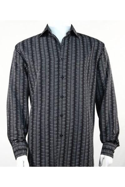 Bassiri L/S Button Down Men's Shirt - Mini Dots Black