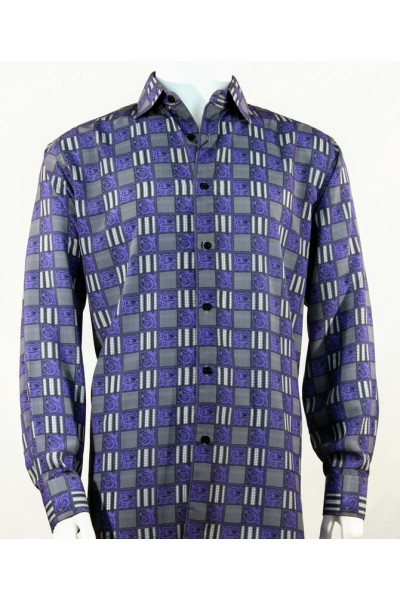 Bassiri L/S Button Down Men's Shirt - Squares Print / Purple