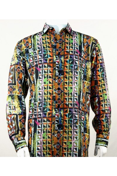 Bassiri L/S Button Down Men's Shirt - Abstract / Multi Green
