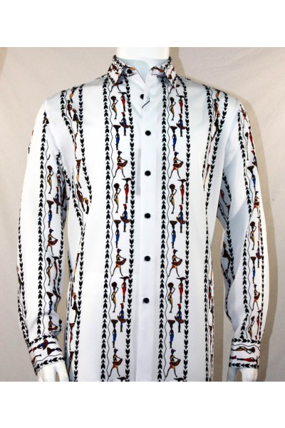 Bassiri L/S Button Down Men's Shirt - Native Girls / Multi