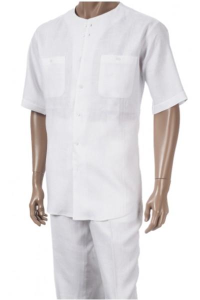 Men's 100% Linen Fashion Shirt by Merc/InSerch - White / 2 Pockets
