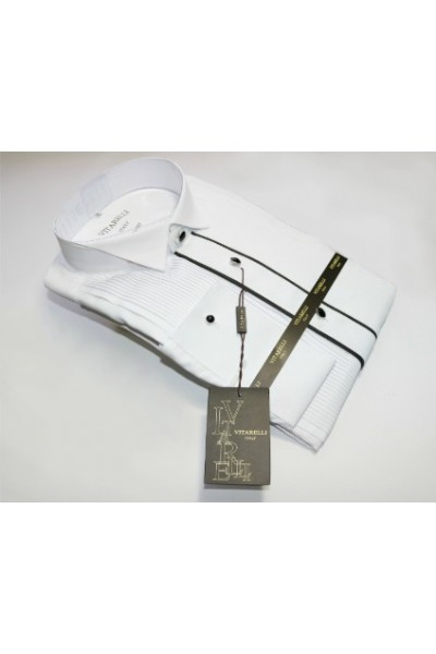 Vitarelli Men's Tuxedo Dress Shirt- White with Black Trim