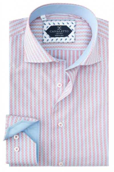 Tiglio / Canaletto L/S Sport Shirt - Pink / Blue Pattern Stripe a