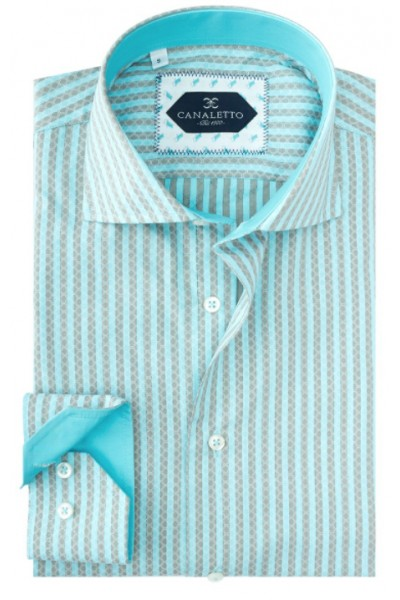 Tiglio / Canaletto L/S Sport Shirt - Turquoise Pattern Stripe a