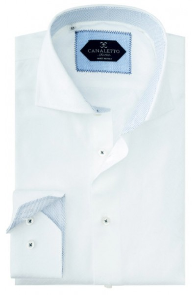 Tiglio / Canaletto L/S Sport Shirt - White / Lt Blue Detail a