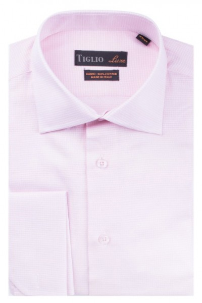 French Cuff Men's Dress Shirt by Tiglio - Pink / Texture