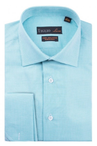 French Cuff Men's Dress Shirt by Tiglio - Lt Turquoise / Texture