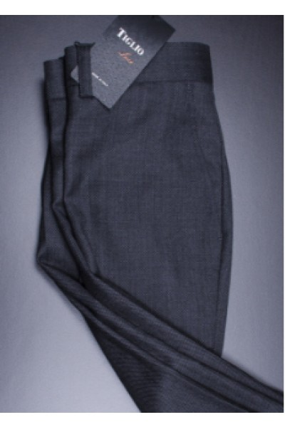Men's Flat Front Pants by Tiglio - 2560 Dark Charcoal