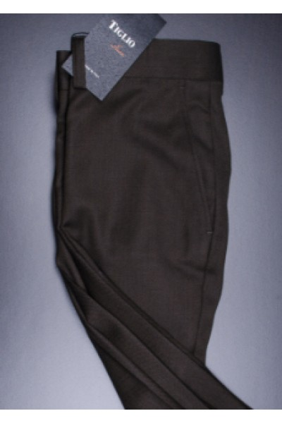 Men's Flat Front Pants by Tiglio - 2560 Dark Burgundy