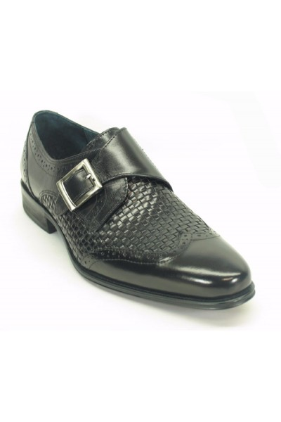 Men's Fashion Shoes by Carrucci - Woven / Buckle Black