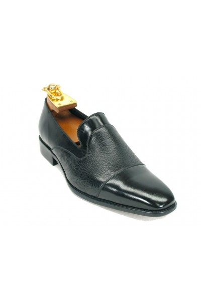 Men's Slip On Leather Loafers by Carrucci - Black