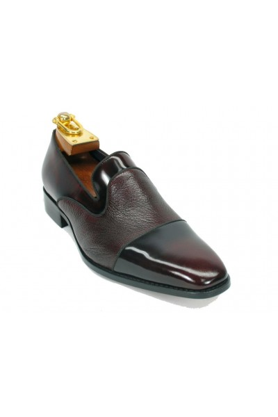 Men's Slip On Leather Loafers by Carrucci - Burgundy Patent