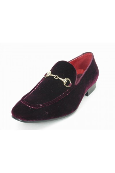 Men's Burgundy Velvet Slip On by Carrucci