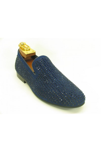 Men's Slip On Shoes by Carrucci - Crystal Detail Navy