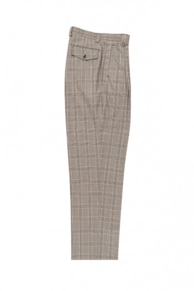 Men's Wide Leg Pleated Pants by Tiglio - 2586/2576 Tan/Brown Windowpane
