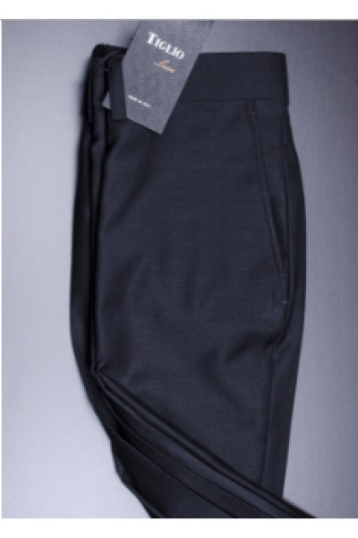 Men's Flat Front Dress Pants by Tiglio - 2560 Black