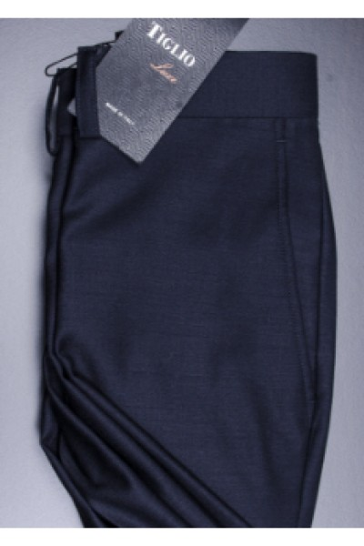 Men's Flat Front Dress Pants by Tiglio - 2560 Navy