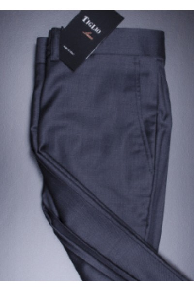 Men's Flat Front Pants by Tiglio - 2560 Dk Grey