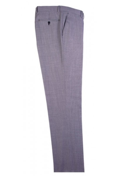 Men's Flat-Front Pants by Tiglio - Gray Birdseye