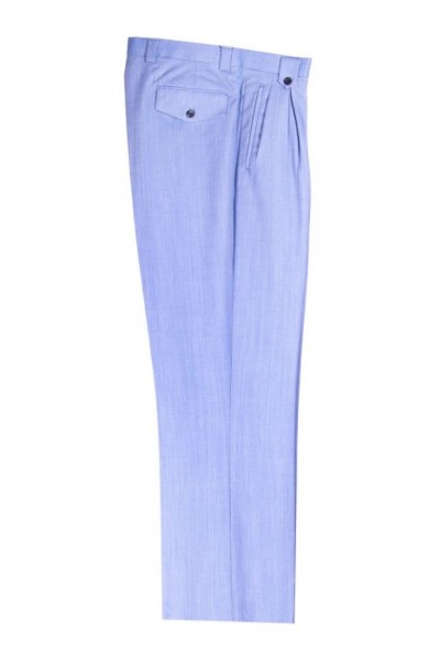 Men's Wide Leg Pleated Pants by Tiglio - 2576 Light Blue