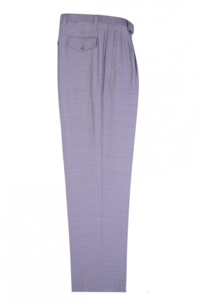 Men's Wide Leg Pleated Pants by Tiglio - 2576 Light Grey