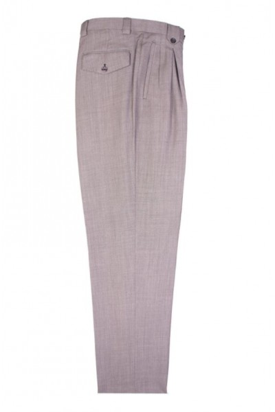 Men's Wide Leg Pleated Pants by Tiglio - 2576 Light Grey Birdseye