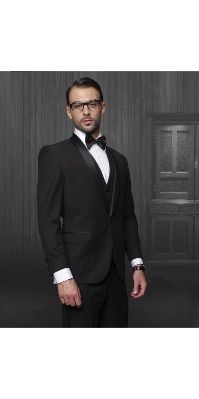 Men's Shawl Collar Black Tuxedo by Statement