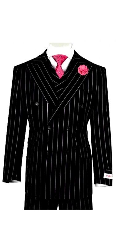 EST Men's Suit by Tiglio Rosso - EST Black / Pinstripe