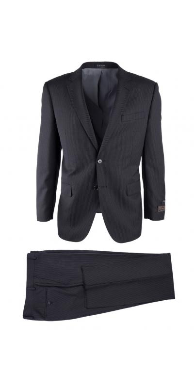 Novello Modern Fit Luxe Suit by Tiglio - Black Mini-Stripe