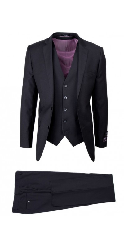 Tiglio Lux 3 Pc Slim Fit Men's Suit  - Sienna Black
