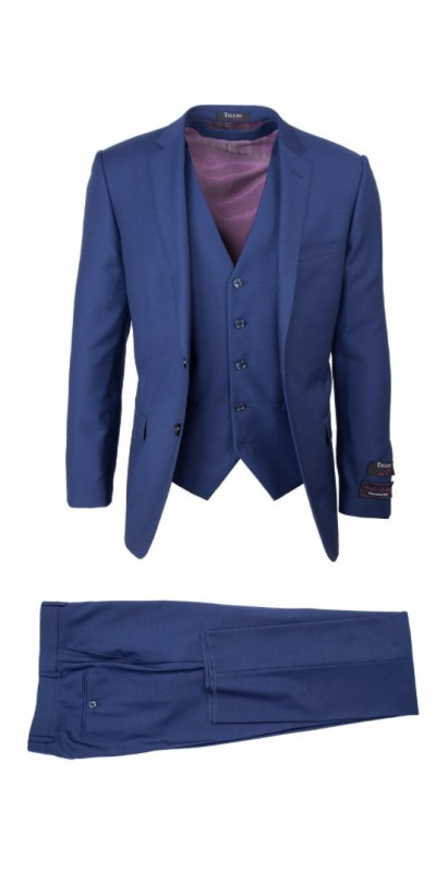 Tiglio Lux 3 Pc Slim Fit Men's Suit  - Sienna French Blue